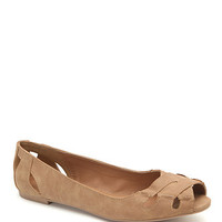 Qupid Palmer Peep Toe Cross Flats - Womens Shoes - Tan -