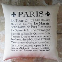 Paris Pillow, Typography, French Country Decor, Paris Decor, Cottage Decor | Luulla