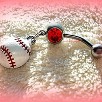 A Softball or Baseball Belly Ring, Baseball, Piercing,  Athletic, Athlete, Belly button, Navel, Summer, Beach, Ready to Ship