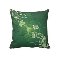 Green decorative floral pillow from Zazzle.com