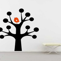 Whimsical Tree with Fall Bird - Vinyl Wall Art Decal | VinylWallAccents - Housewares on ArtFire