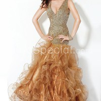 Amazing V-neckline Dropped Waistline Sequins Organza Evening Dress-SinoSpecial.com