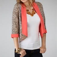 Pre-Order: Brown/Coral Leopard Cardi