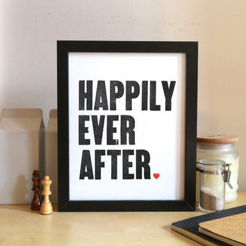 Happily Ever After Original Wood Type Letterpress by nickagin