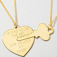 Fredflare.com - Key to My Heart Necklace Set - Gold Heart Necklace