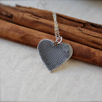 Silver Mesh Heart handmade necklace Large by KittyStoykovich