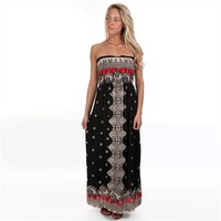 Angie Juniors Strapless Printed Maxi Dress at Von Maur