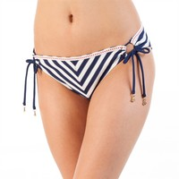 Betsey Johnson Juniors Stripe Away Tie-Side Hipster Bikini Bottom at Von Maur