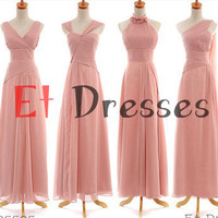 Different style long chiffon bridesmaid dress with flowers or bow and sash