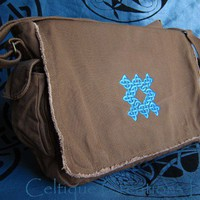 Celtic Knot Messenger Bag Embroidered Knotwork Blues on Brown | celtique_creations - Bags & Purses on ArtFire