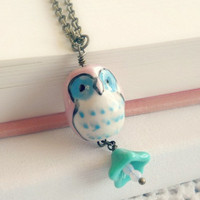 Little Pink Owl Necklace by theblackstarboutique on Etsy