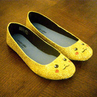 Pikachu Pokemon Glitter Shoes by aishavoya on Etsy
