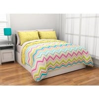 5pc Adorable Girl Yellow Pink Aqua Green Reversible Chevron Twin Comforter Set (5pc Bed in a Bag)