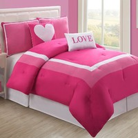 4 Pc Modern Pink and White Teen/girl Comforter Set, Twin Size Bedding, Bed in a Bag, By Plush C Collection