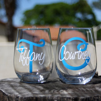 6 Personalized Monogram Stemless Wine Glasses. Great for bachelorette and wedding parties. Custom Lip Wine glasses.