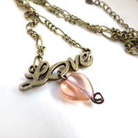 Vintage Love with Dangling Heart Necklace by SirensAllure on Etsy