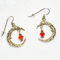 Swarovski Fire Opal Man in the Moon Gold Chandelier Earrings | KatsAllThat - Jewelry on ArtFire