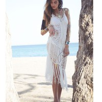 Boho Fringe Cover Up - White