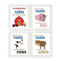Farm Animal Nursery Prints - Old MacDonald Had A Farm Prints // Baby Boy or Girl Prints // Farm Room Decor // Nursery wal Art 4-8x10 Prints