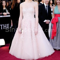 Ball Gown Beaded Tea Length Tulle Celebrity Dress with Applique-SinoSpecial.com