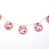 Mini donut desk banner, do-nut felt wall banner, with pink frosting and fuchsia, white and brown sprinkles