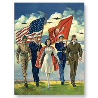 Vintage Military Personnel; Patriotic Postcards
