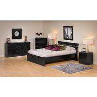 Prepac Avanti Full/Double Platform Bed with Attached Headboard in Black | Beds BPD-0261-2KV/3