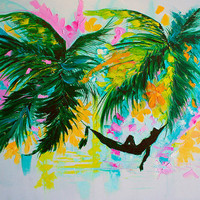 Hammock in Paradise Painting for Sale Oil Canvas Art  Large Wall Decor by Artist Ekaterina Chernova  - Size: 50 x 76 cm