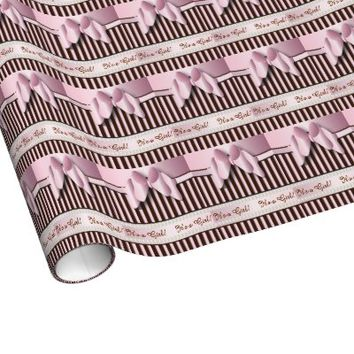 Gift Wrap - Elegant Pink and Brown Baby Girl