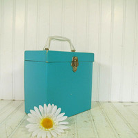 Vintage Bright Turquoise Paper Covered Platter-Pak 45 Records Case - Shabby Chic Media Display Latching Box - Early Amberg File & Index Co.