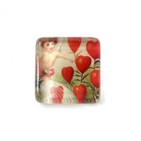 Handmade Ring Cupid Hearts Glass Tile Square Angelic Romantic