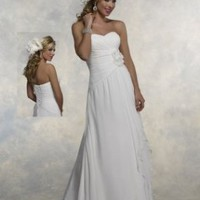 Chiffon Strapless Sweetheart Chapel Train 2012 A-Line Wedding Dress - Basadress.com