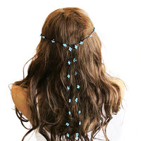 crochet Headpiece Headband Hair Piece blue beaded Wedding Bridal Accessories Boho Headband Bohemian Women Bridesmaids girls girly summer