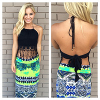 Boho Chic Fringe Halter Top - Black