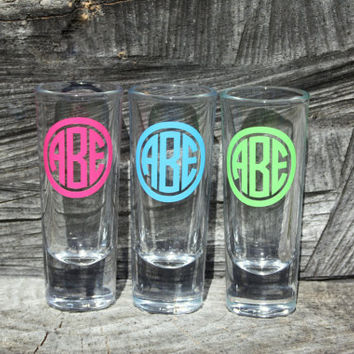4 Personalized Monogram shot glasses. Great for bachelorette and wedding parties. Custom shot glasses.