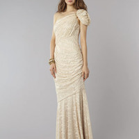 &quot;David Meister Draped Gold Shimmer Gown &quot;