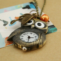 Vintage pocket watch Lovely owl necklace with leaves by luckyvicky