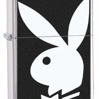 Zippo Brush Chrome Playboy Lighter (Silver, 5 1/2x 3 1/2-Cm)