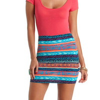 Aztec Print Bodycon Mini Skirt by Charlotte Russe - Multi