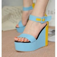 Wholesale Korea style color matching cloth peep toe thick bottom sandals XD-HSY126-3 blue - Lovely Fashion