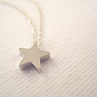 Sterling Silver Necklace With Tiny Star Bead - Make A Wish | Luulla