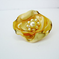 Fabric Flower Ring, Adjustable Golden Yellow Cocktail Ring, ShabVintique Flowers, Bridal Flower Rings, Teen Birthday Party Favors