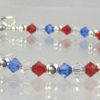 Patriotic Crystal Bracelet by CobwebCorner on Etsy