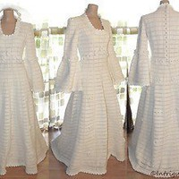 Vintage 70s Crochet Full Sweep Wedding Dress Ball Gown Bohemian Bell Sleeve M/L | eBay