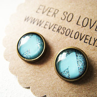 chevron striped earrings in mint green by EverSoLovely