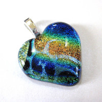 Fused Glass Heart Pendant Slide Jewelry One of a Kind jewelry by mysassyglass