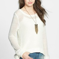 Billabong 'Half Moon Bay' Fringe Sleeve Open Knit Pullover (Ju