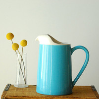 Robin's Egg Blue Ceramic Pitcher Water Juice Summer by vint