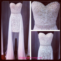 Short white lace reception dress/ wedding reception dress/ bridal reception dress in handmade