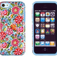 DandyCase 2in1 Hybrid High Impact Hard Clolorful Blooming Flowers Pattern + Sky Blue Silicone Case Cover For Apple iPhone 5C + DandyCase Screen Cleaner
